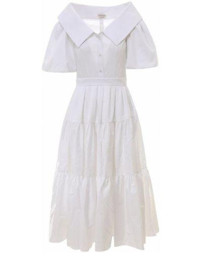 Biała sukienka midi boho krótki rękaw Alexander Mcqueen