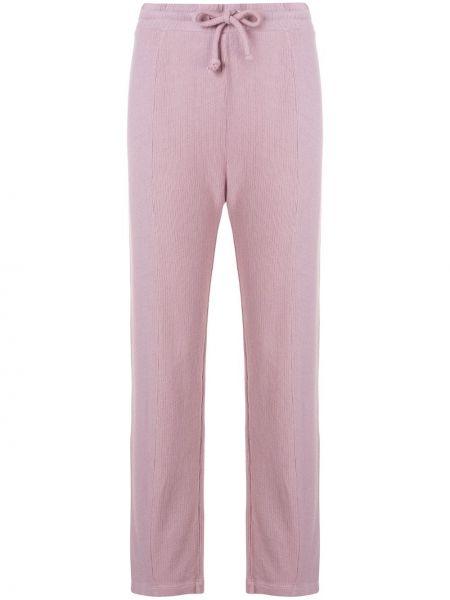 С кулиской фиолетовые брюки из вискозы на резинке Wildfox
