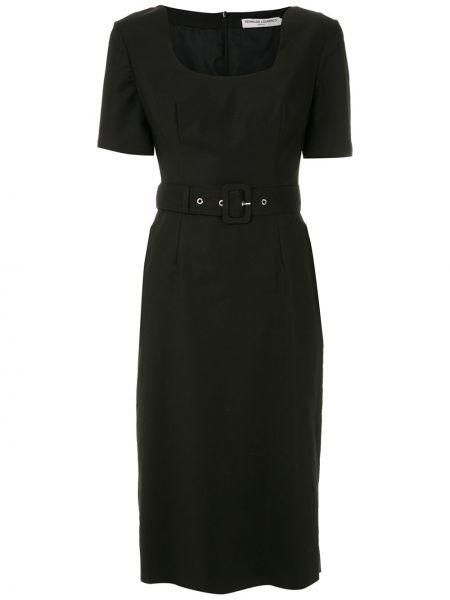 С рукавами черное платье миди с поясом Reinaldo Lourenço