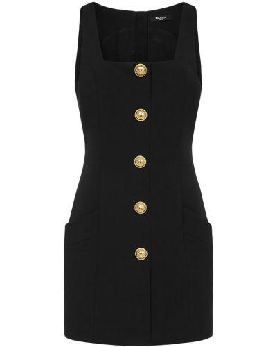 Złota czarna sukienka midi elegancka Balmain