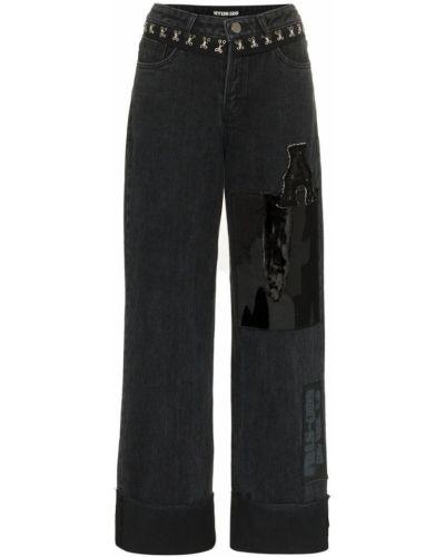 Черные прямые джинсы с аппликациями с карманами на пуговицах Hyein Seo