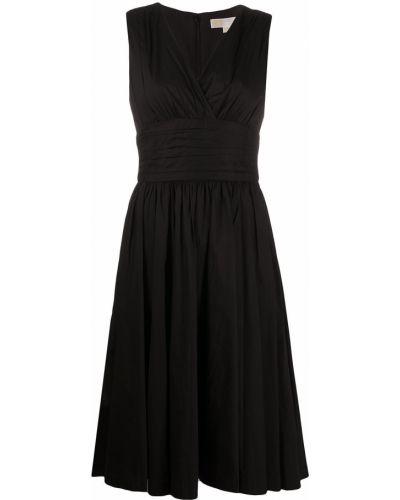 Черное платье миди без рукавов с оборками Michael Michael Kors