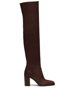 Brązowy buty na pięcie z ostrym nosem z prawdziwej skóry w połowie kolana Prada