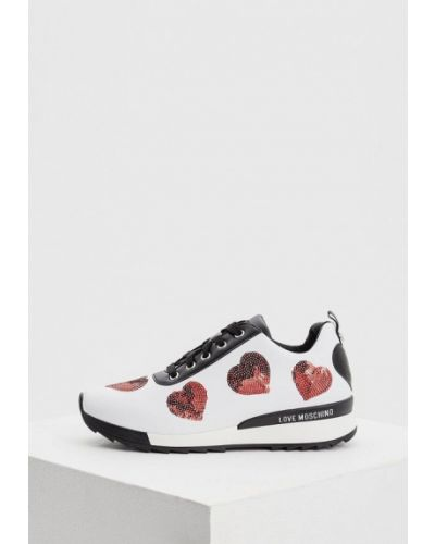 Белые кроссовки низкие Love Moschino