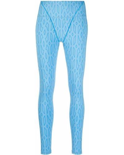 Niebieskie legginsy z wysokim stanem z siateczką Adidas