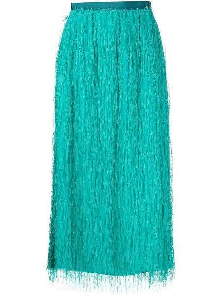 Włókienniczy zielony z wysokim stanem spódnica midi frędzlami Pinko