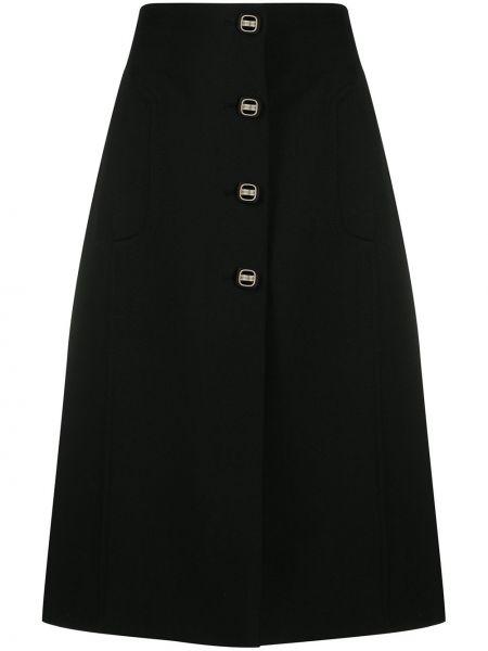 Шерстяная черная с завышенной талией юбка миди на пуговицах Prada