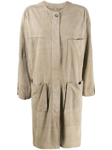 Długi płaszcz z kieszeniami beżowy A.n.g.e.l.o. Vintage Cult