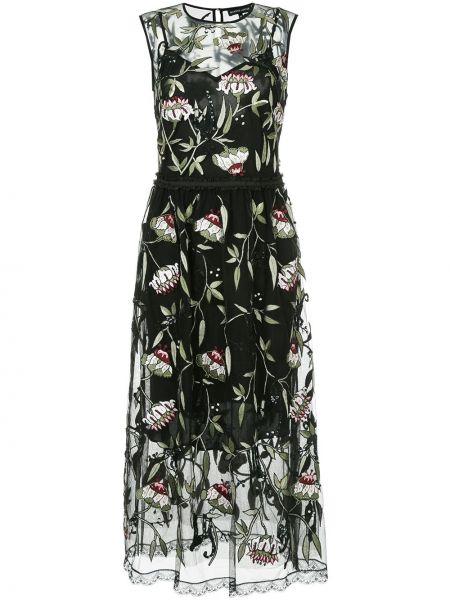Платье с цветочным принтом черное Markus Lupfer
