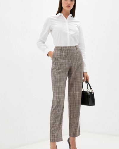 Шерстяные белые классические брюки в клетку Baon