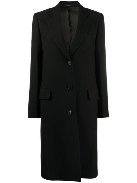 Шерстяное черное пальто классическое с капюшоном Paul Smith