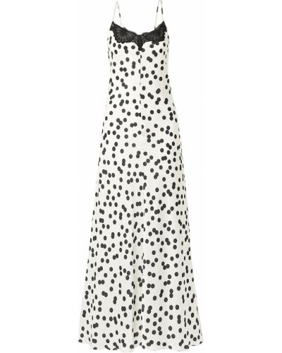 Biała satynowa sukienka długa koronkowa Racil
