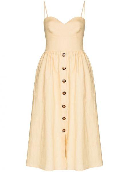 Льняное платье миди - желтое Reformation