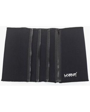 Черный ремень с поясом для фитнеса Liveup