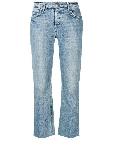 Niebieskie jeansy skorzane z paskiem Grlfrnd