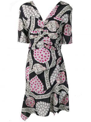 Czarna sukienka mini asymetryczna z wiskozy Isabel Marant