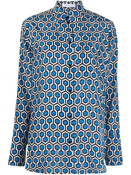 Шелковая синяя классическая рубашка с длинными рукавами Christian Wijnants