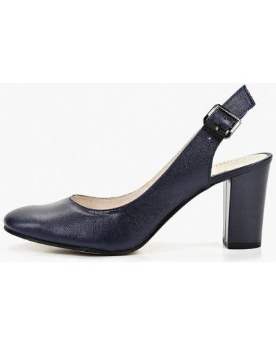 Туфли на каблуке кожаные с открытой пяткой юничел