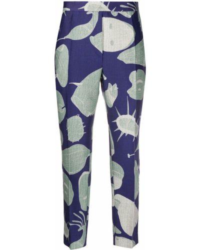 Синие шерстяные укороченные брюки с карманами с высокой посадкой Christian Wijnants
