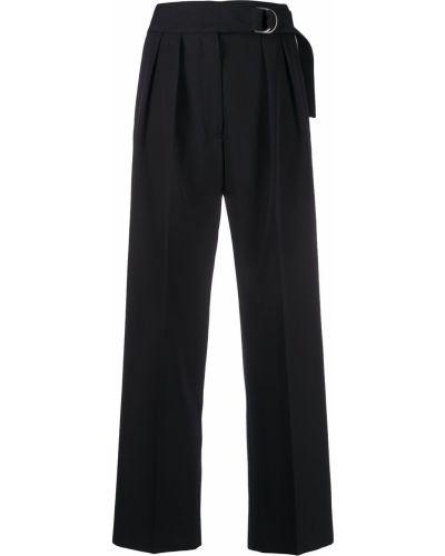 Зауженные черные плиссированные укороченные брюки с поясом Jil Sander