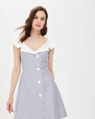Платье платье-рубашка синее Galina Vasilyeva