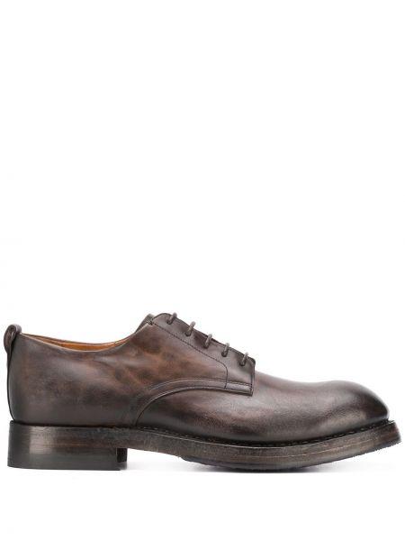 Кожаные коричневые кожаные туфли на каблуке на шнурках Silvano Sassetti
