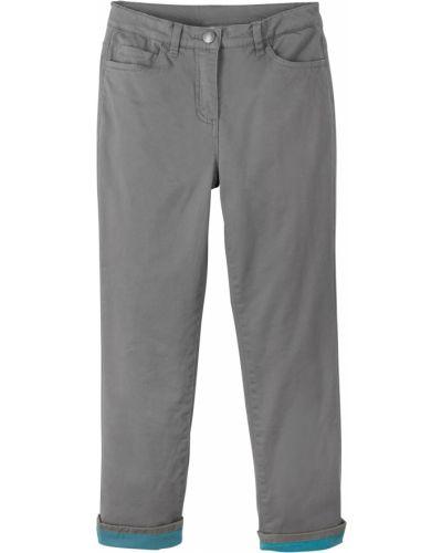 Серые теплые джинсы с отворотом Bonprix