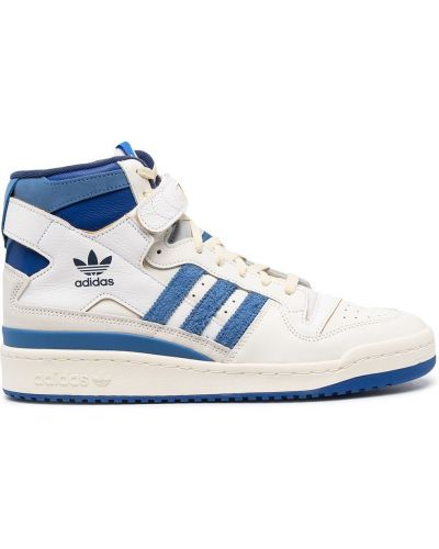 Модные кожаные белые высокие кроссовки Adidas