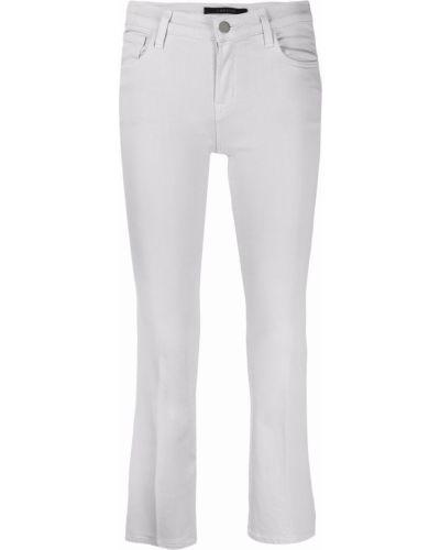 Хлопковые серые укороченные джинсы стрейч J Brand