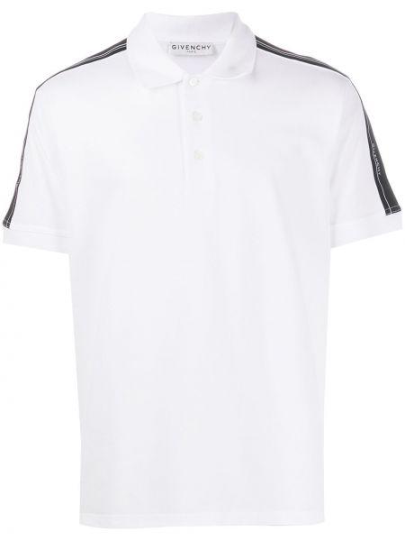 Biały bawełna koszula krótkie z krótkim rękawem z paskami z kołnierzem Givenchy