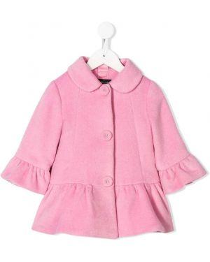 Розовое длинное пальто с оборками на пуговицах Monnalisa