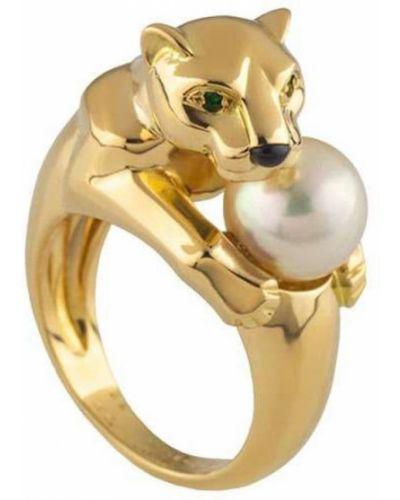 Желтое кольцо с жемчугом Cartier