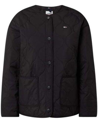 Czarny kurtka jeansowa z kieszeniami okrągły Tommy Jeans