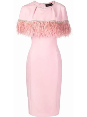 Розовое платье с перьями Jenny Packham