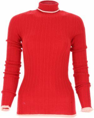 Czerwony sweter wełniany z długimi rękawami Pinko