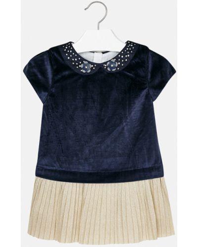 Платье с рукавами однотонное темно-синий Mayoral