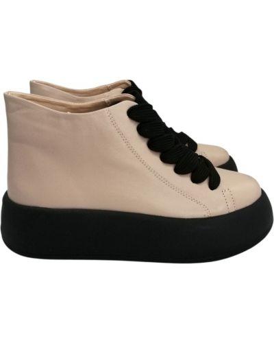 Кожаные ботинки - бежевые Carvallio