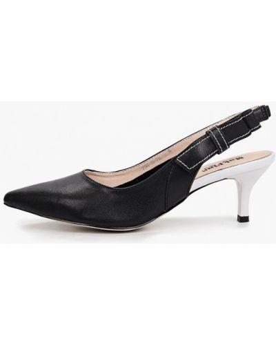 Черные кожаные туфли с открытой пяткой Makfine