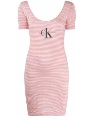 Розовое прямое платье мини с открытой спиной с короткими рукавами Calvin Klein Jeans