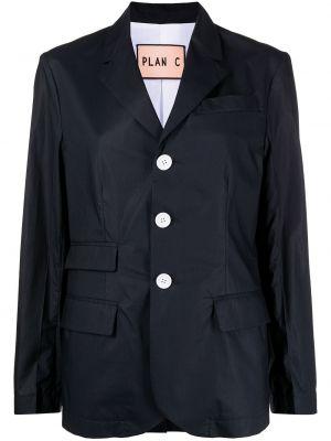 Однобортный синий удлиненный пиджак с карманами Plan C