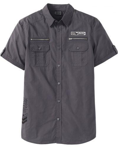 Рубашка с короткими рукавами серая с карманами Bonprix