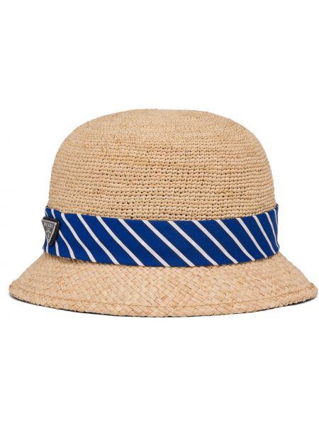 Brązowy kapelusz bawełniany Prada