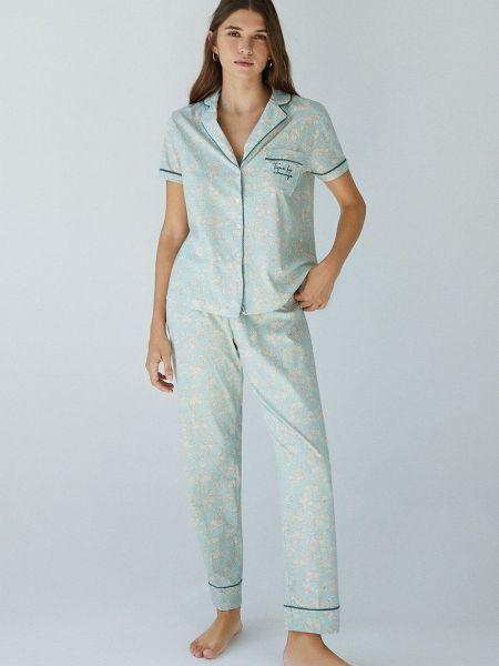 Piżama zapinane na guziki - zielona Women'secret