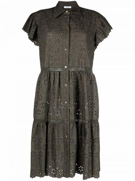 Расклешенное черное платье мини с воротником P.a.r.o.s.h.