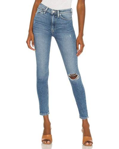 Хлопковый синий укороченный кроп-топ Hudson Jeans