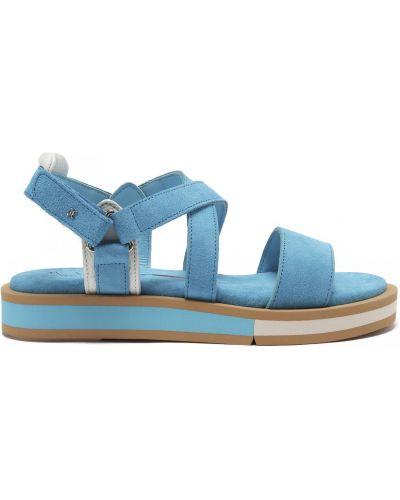 Бирюзовые открытые кожаные сандалии Fabi