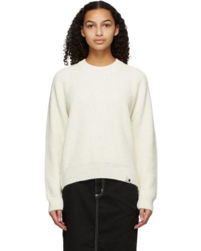 Biały z rękawami wełniany długi sweter z mankietami Carhartt Work In Progress