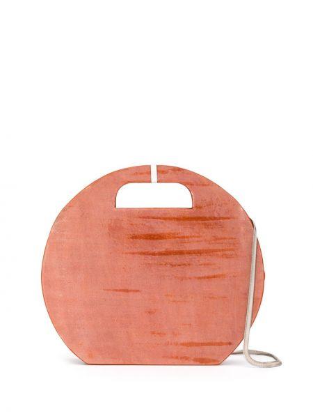 Оранжевая сумка на цепочке круглая Cecchi De Rossi