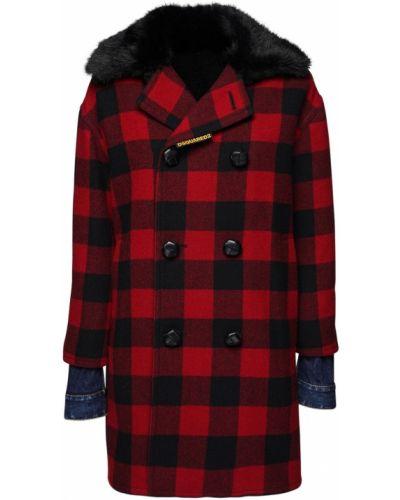 Красная плюшевая джинсовая куртка с манжетами с воротником Dsquared2