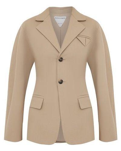 Бежевый пиджак с подкладкой из вискозы Bottega Veneta